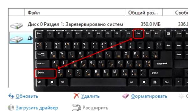 Клавиши Shift+F10 для вызова командной строки