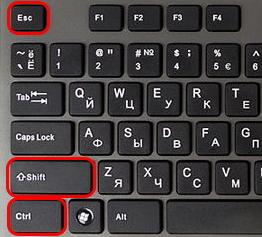 Клавиши для запуска диспетчера задач