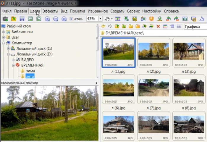 Рабочее окно FastStone в Windows10