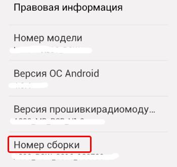 Переход в режим разработчика Андроид