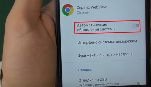 Параметр обновлений в режиме разработчика Андроид