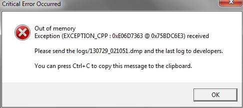 Ошибка Windows 0xe06d7363