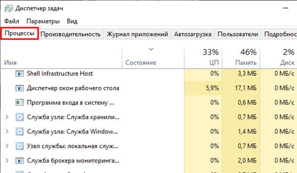 Открытие диспетчера задач в Windows 10
