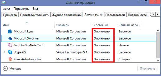 Отключенные приложения в ДЗ Windows