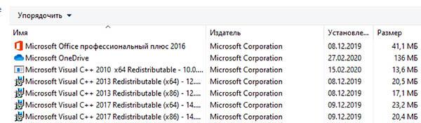 Установленные компоненты Visual C++ в Windows