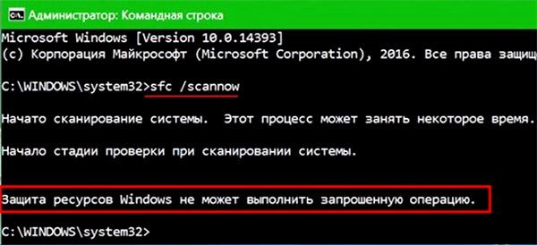 Защита ресурсов Windows не может выполнить проверку в cmd