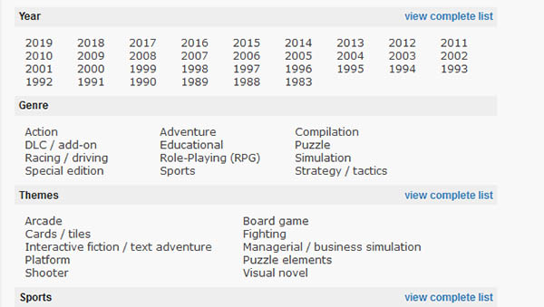 Поиск игры на сайте Mobygames.com