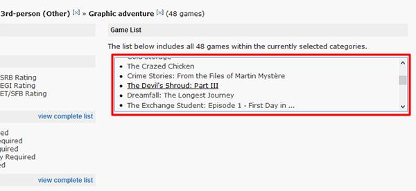 Список найденных игр на сайте Mobygames.com