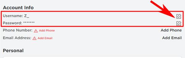 Изменить логин или пароль в Роблокс