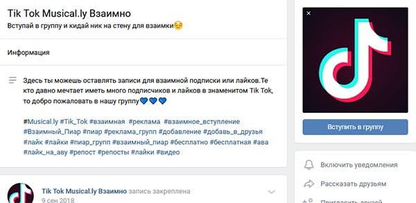 Группы для накрутки подписок Тик Ток в ВКонтакте