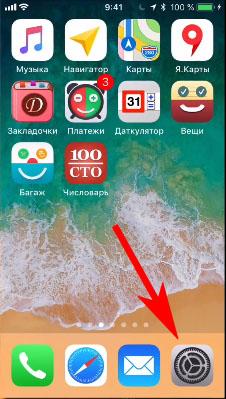 Выберите значок настройки в iPhone