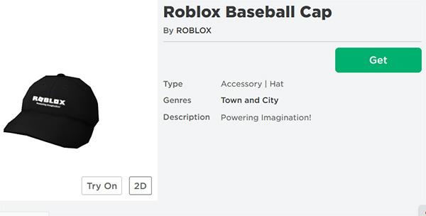 Нажмите Get для получения предмета в Roblox