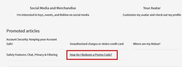 How do i redeem a promocodes в Роблокс