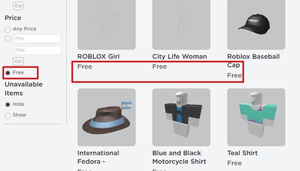 Бесплатные вещи в Роблокс