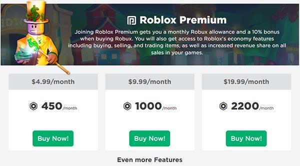Покупка према в Roblox