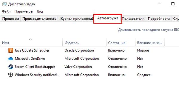 Программы в втозагрузке Windows