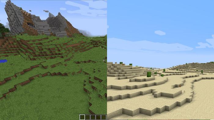 Разные биомы Minecraft