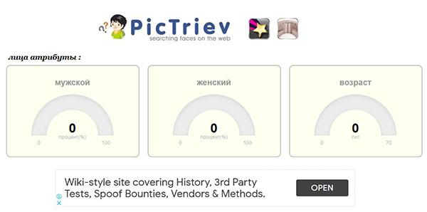 Откройте сайт PicTriev