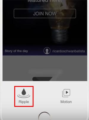 Выберите кнопку Ripple в StoryZ