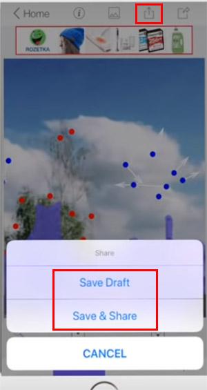 Нажмите на Save Draft, чтобы скачать фото в память смартфона
