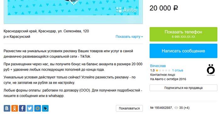 Реклама TikTok на Avito