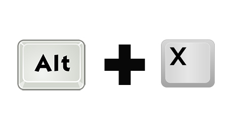 Горячие клавиши Alt + X