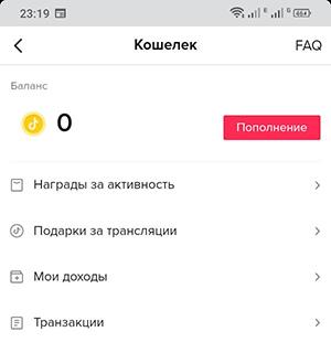 Баланс пользователя
