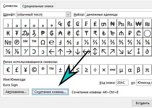 Кнопка Сочетание клавиш