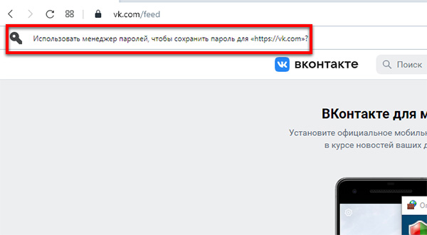 Панель добавления пароля в браузер