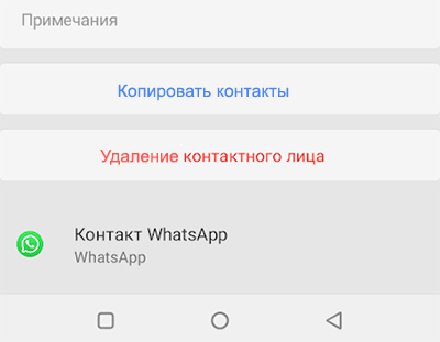 Контакт создан в WhatsApp